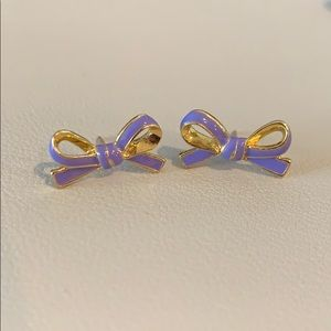 Purple Kate Spade Skinny Mini bow stud earrings